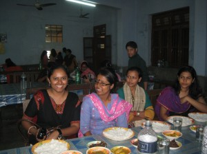 Having lunch with the students of Adhunika at their hostel.
