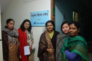 Muna Shams with staff at Adhunika Women's Center. Photo taken by Imran Hassan