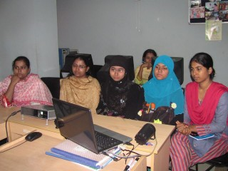 First Live On-line Class with the Adhuanika Women's  Center's. The class was lead by Shahnaz S. Yousuf – the Founder & President of Adhunika Foundation. Class was supervised by Nazma Khatun, Manager of Adhunika Women's Center. & was attended by five students.