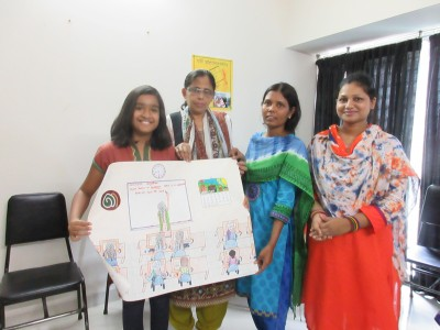 Probha Hasan presenting the drawing 'Adhunika Classroom' to the staff of Adhunika Women's Centre. Photo - Shahnaz S. Yousuf