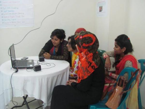 AWC Students during Skype Session, Dhaka, Bangladesh Photo: Nazma, Manager AWC
